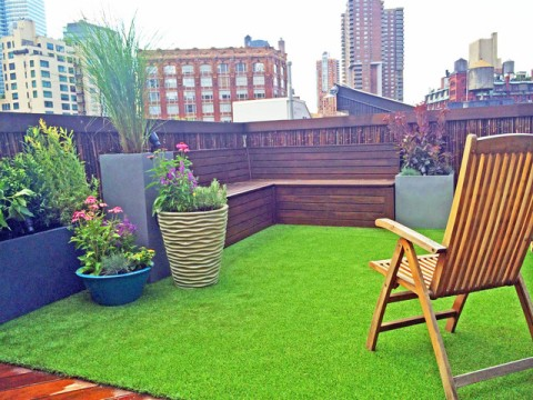 terrace with artificial turf
