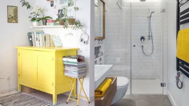 white and yellow decor
