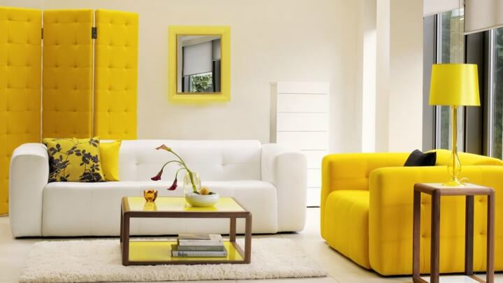 white and yellow decor