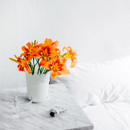 artificial flowers in bedroom